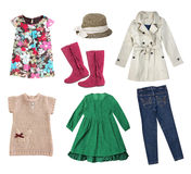 Fashion spring child girl`s clothes collage set isolated. Royalty Free Stock Photography