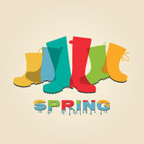 Fashion spring rain boots Stock Photography