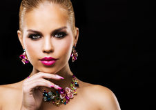 Fashion spring summer blond woman with perfect skin Stock Photos