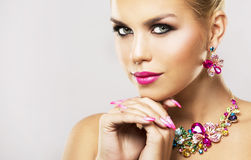 Fashion spring summer blond woman with perfect skin Stock Photo