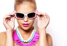 Fashion spring summer blond woman with perfect skin Royalty Free Stock Image