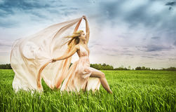 Fashion spring summer blond woman with perfect skin Royalty Free Stock Photography