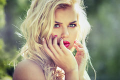 Fashion spring summer blond woman with perfect skin Stock Images