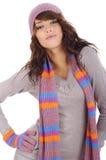 fashion ståenden den sexiga vinterkvinnan Arkivbild