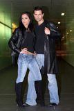 Fashion statement. Fashion couple wearing leather jacket stock image