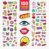 Fashion Stickers and Badges with Lips, Hands and Comic Speech Bubble. Teen Style Doodle stock illustration