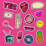Fashion Stickers and Badges with Lips, Hands and Comic Speech Bubble. Teen Style Doodle Stock Photo