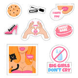 Fashion stickers, patch, pins on a white background. Stock Image