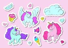 Fashion stickers set in 80s-90s pop style. Unicorn, crystal, diamond, ice-cream. Vector illustration Royalty Free Stock Photography