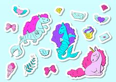Fashion stickers set in 80s-90s pop style. Unicorn, crystal, diamond, ice-cream. Vector illustration Stock Photos