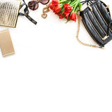 Fashion still life with accessories, flowers, phone Stock Image