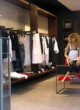 Fashion store. With female clothes Stock Images