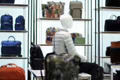 Fashion Store Display. Mannequin amidst a shop full of luxury bags Royalty Free Stock Photos