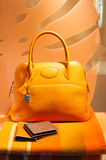 Fashion store handbag window display. Women handbag and accessories in fashion boutique window display Royalty Free Stock Photos