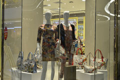 Fashion store handbag window display Royalty Free Stock Photography