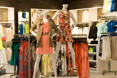 Woman fashion clothing store royalty free stock photography