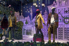 Fashion store window christmas lights Royalty Free Stock Photography