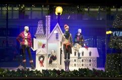 Fashion store window christmas lights royalty free stock photography
