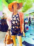 Fashion storefront mannequin summer fashion watercolor illustration Stock Image
