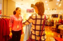 Fashion stores, women are looking for the latest fashions. In Shenzhen, china Royalty Free Stock Photography