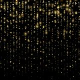 Fashion strass drops with shiny sequins. Sparkling of shimmering light blurs. Christmas and New Year effect. Gold. Particles lines rain. Glitter threads of royalty free illustration