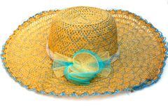 Fashion straw hat on white Royalty Free Stock Photo