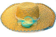 Fashion straw hat on white. Fashion straw beautiful hat on white background royalty free stock photo