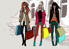 Fashion street girls. Vector illustration light colors, shopping, girls Stock Images