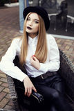 Fashion street outfit.beautiful girl in fashion clothes and accessories Stock Image