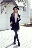 Fashion street outfit.beautiful girl in fashion clothes and accessories Royalty Free Stock Photos
