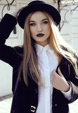 Fashion street outfit.beautiful girl in fashion clothes and accessories Stock Photos