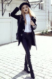 Fashion street outfit.beautiful girl in fashion clothes and accessories Royalty Free Stock Photo
