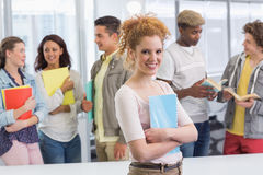Fashion student smiling at camera royalty free stock photos