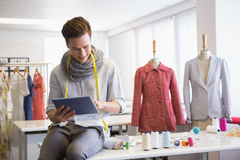 Free Fashion Student Working On Tablet Computer Royalty Free Stock Photography - 49207627