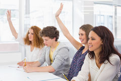Fashion students being attentive in class Royalty Free Stock Photo