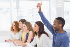 Fashion students being attentive in class Royalty Free Stock Image