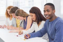 Fashion students being attentive in class Royalty Free Stock Photos