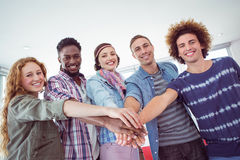 Fashion students high fiving together Royalty Free Stock Images
