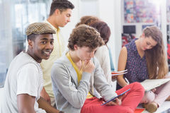 Fashion students reading their notes. At the college Royalty Free Stock Photography