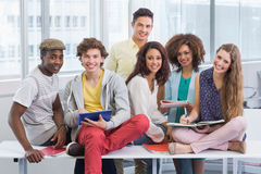 Fashion students reading their notes. At the college Royalty Free Stock Photo