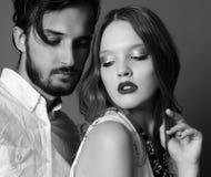 Fashion studio photo of beautiful sexy couple Stock Photography