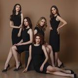 Fashion studio photo of five elgant women in black dresses. Fashion studio photo of five elgant women in black dresses Royalty Free Stock Photos