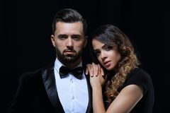 Fashion Studio Photo Of Beautiful Couple In Elegant Clothes