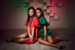 Fashion studio photo of two women in bright dresses. Stock Photo