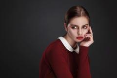 Fashion studio portait of beauty girl Stock Photos