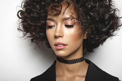 Beautiful woman with afro curls hairstyle. Fashion studio portrait of beautiful mulatto woman with afro curls hairstyle. Fashion and style. Beauty and health Stock Images