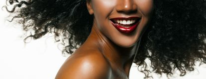 Fashion studio portrait of an extraordinary beautiful african american model. Woman royalty free stock photography