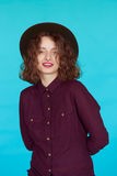 Fashion studio portrait of glamour girl, casual outfit Royalty Free Stock Image