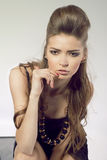 Fashion studio portrait of young sensual woman Royalty Free Stock Photography
