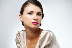 Fashion studio shot of beautiful woman royalty free stock image